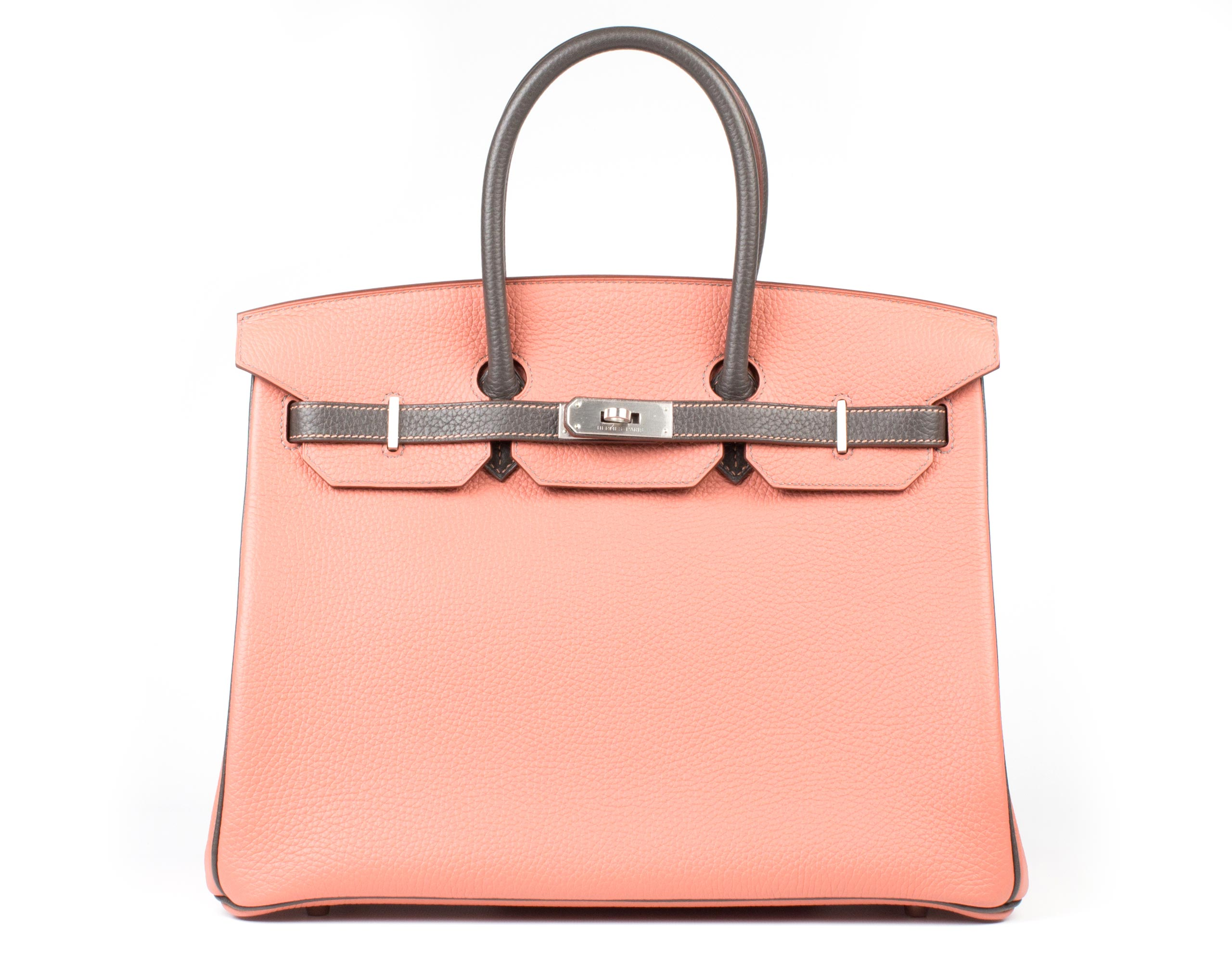 Hermes Bag Birkin The Rose And Graphite Clemence 35cm B99 Front