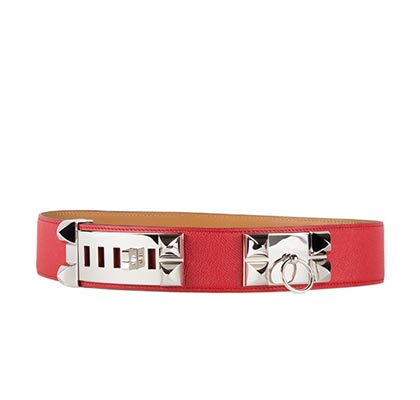 Hermes Red Belt Courchevel Front