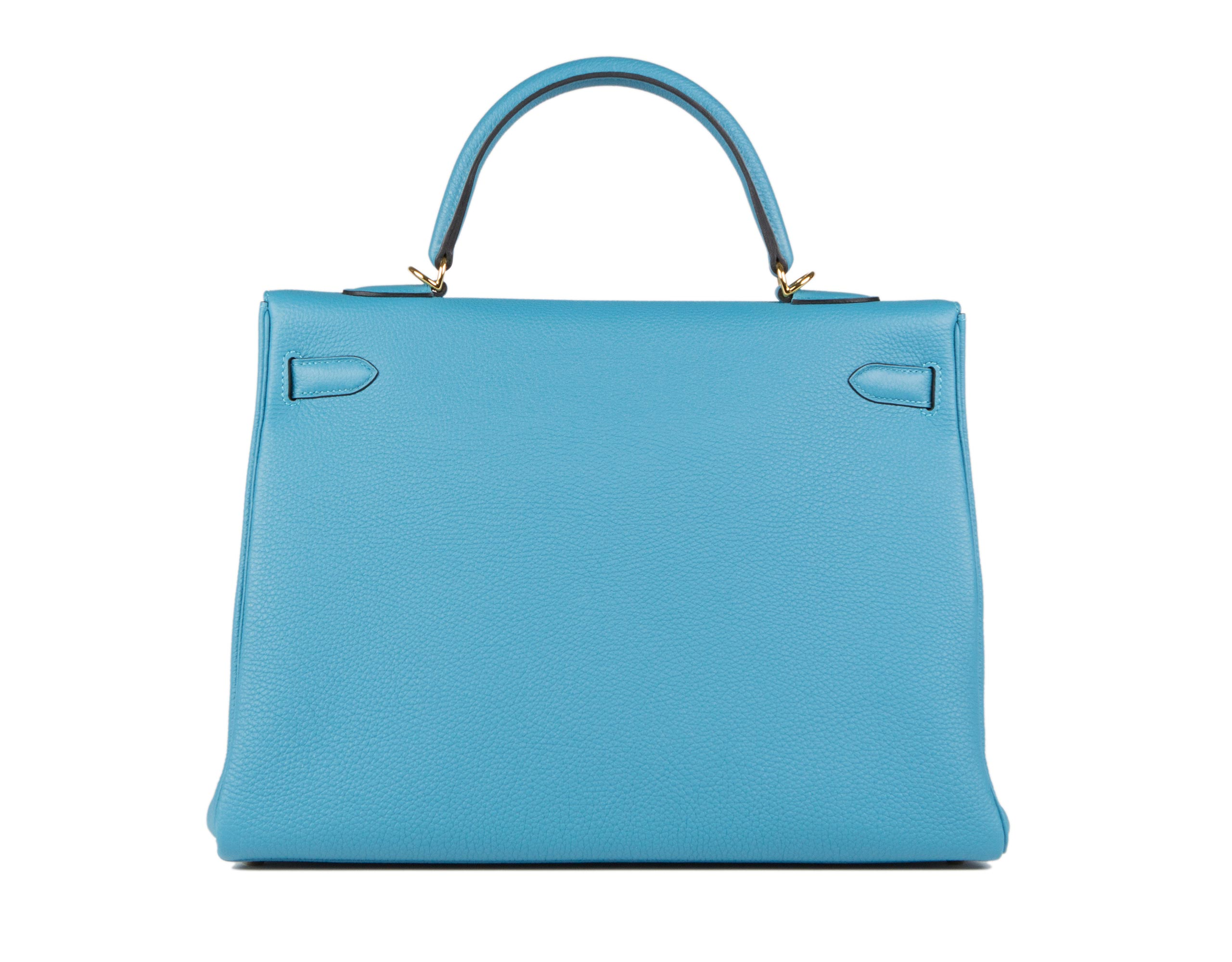Hermes Kelly Bag Turquoise Togo With Gold back