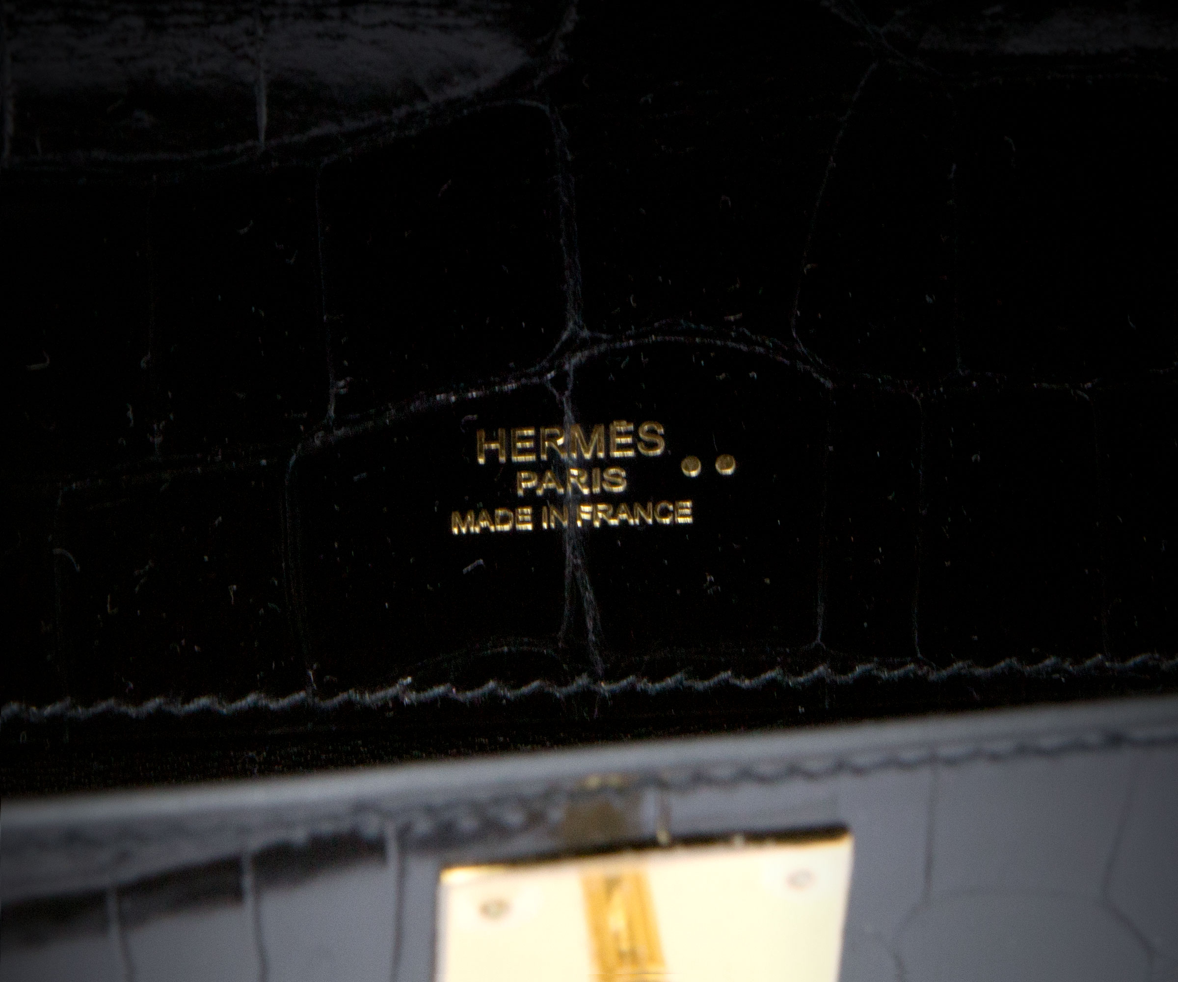 Hermes Kelly Cut Black shiny Nilo Croc with Gold