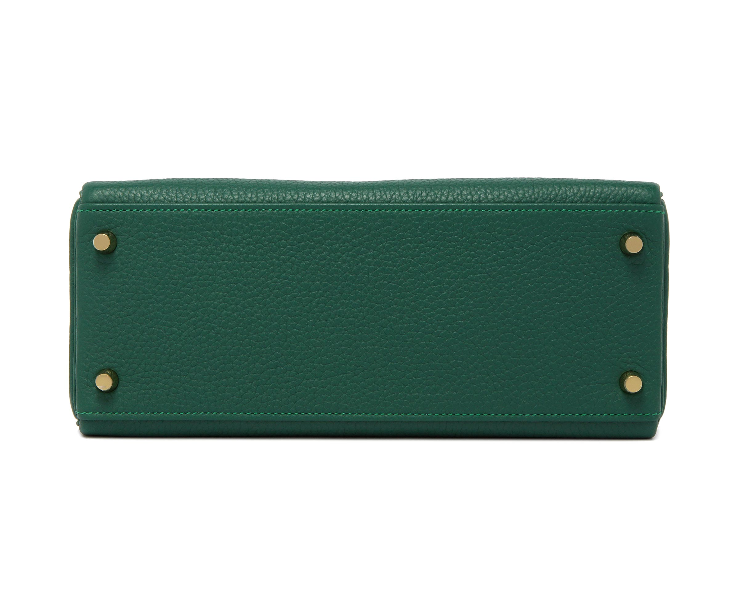 Hermes Kelly Green Malachite Clemence with Gold