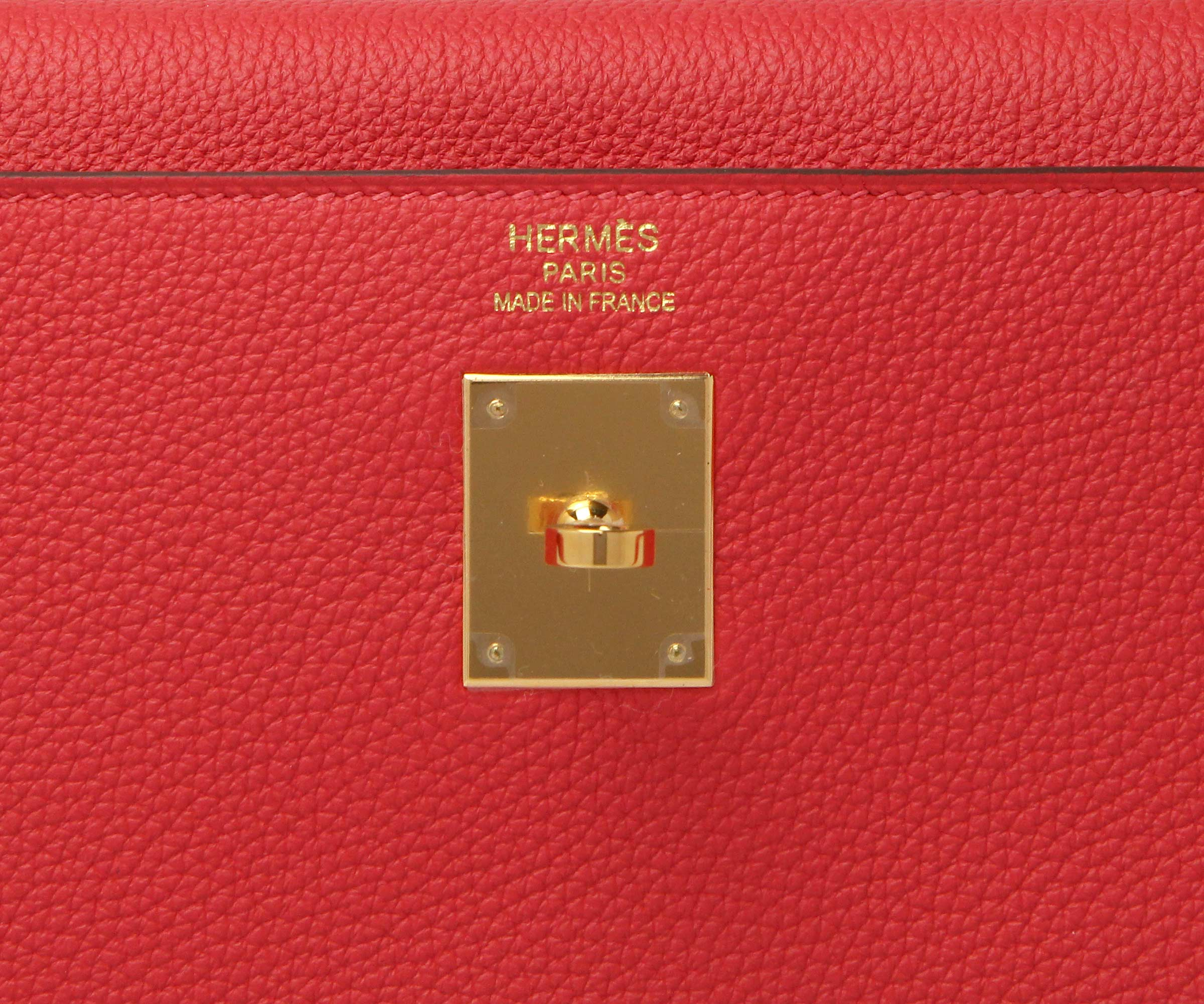 Hermes Kelly Rouge Pivoine Togo with Gold
