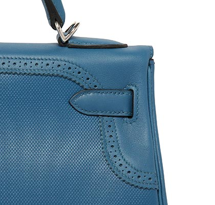 Hermes Kelly Blue Galice Ghiliie Swift & Vach d'H with Palladium