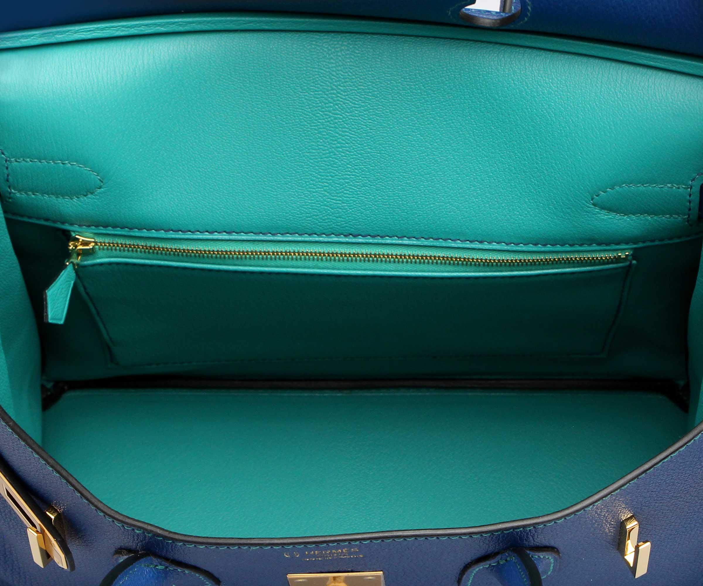 Hermes Birkin Blue Sapphire & Paon Chevre with Gold