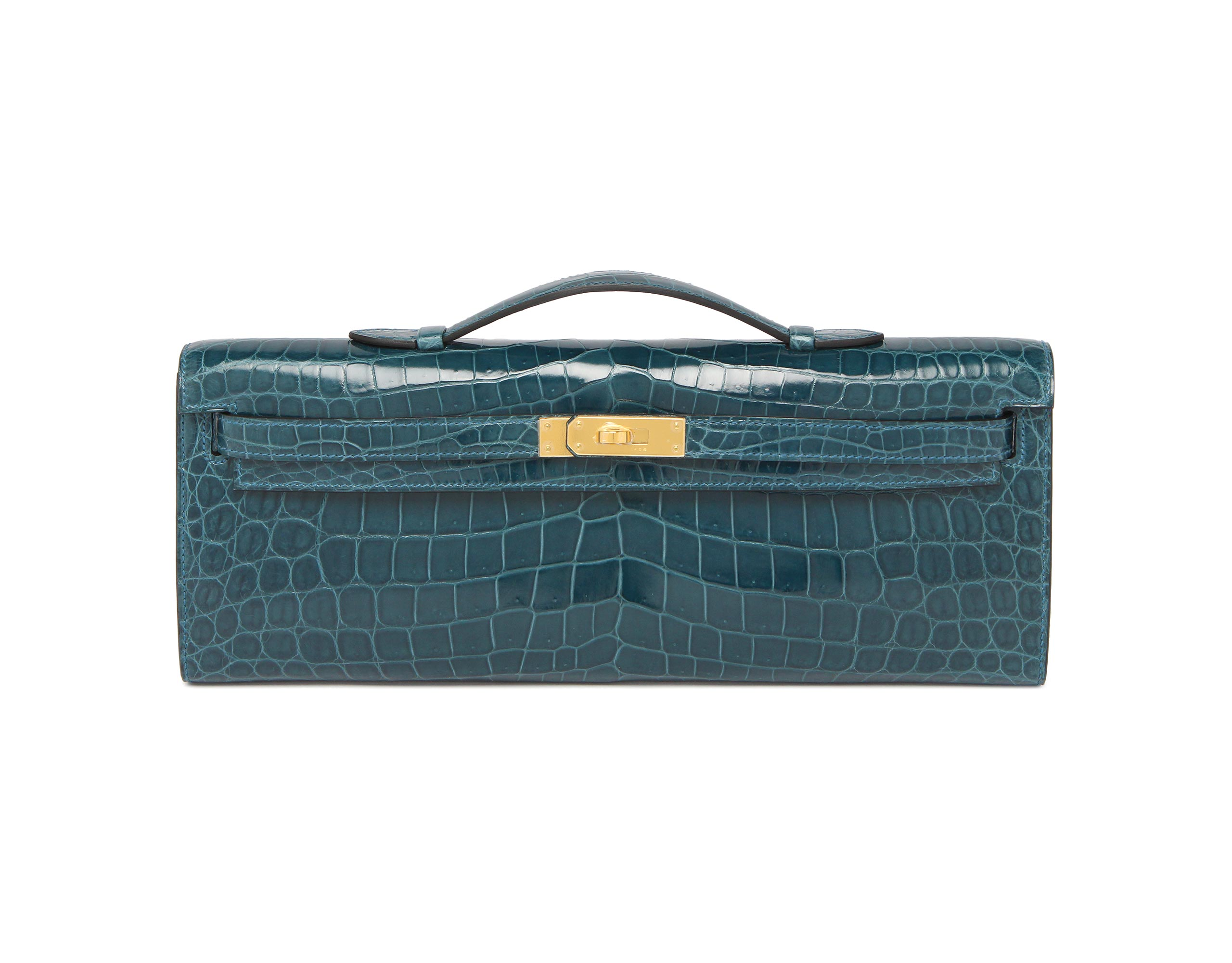 Hermes Kelly Cut Blue Colvert Shiny Nilo Croc with Gold