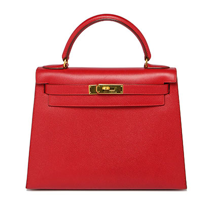 Hermes Kelly Rouge Vif with Gold