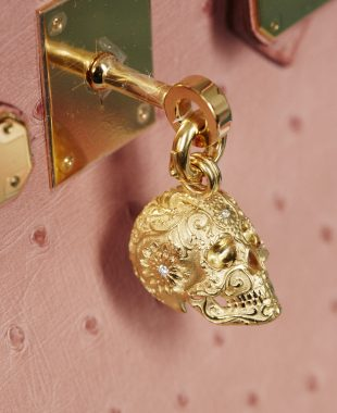The Kranio is the human skull which can ether come in gold plate or silver but again can be ordered with gem stones in the eyes ranging from emeralds (for success in love), to blue sapphires (for wisdom) and amethysts (for protection). If that's not enough, the pièce de résistance is the Tatouas Kranio covered in a stunning embossed floral pattern, emblazoned with diamonds.