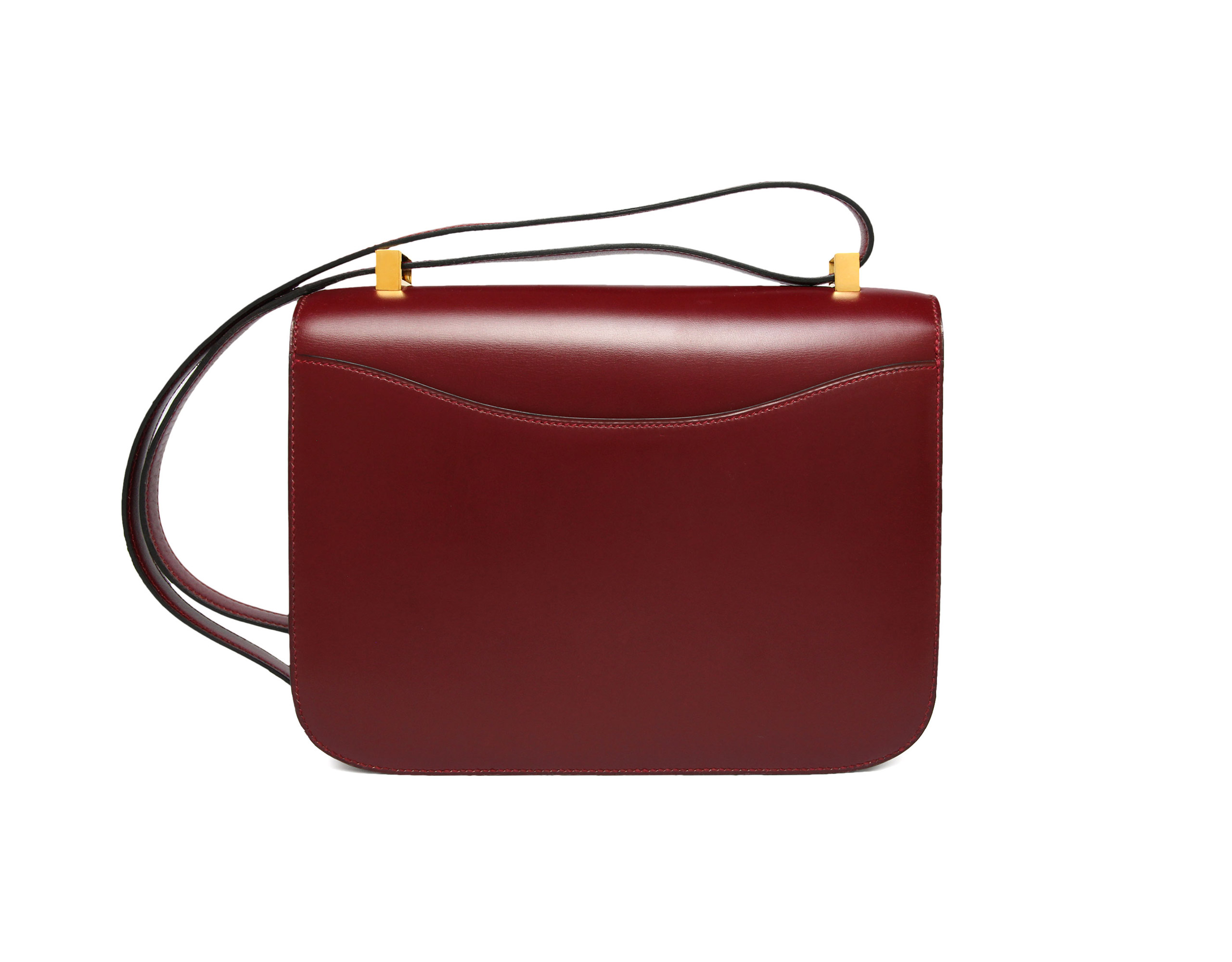 Vintage 23cm Constance in Rouge Hermes Box with Gold Hardware